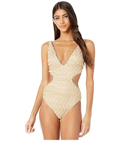 Missoni Mare Metallic Lace One-Piece Swimsuit (White/Gold) Women