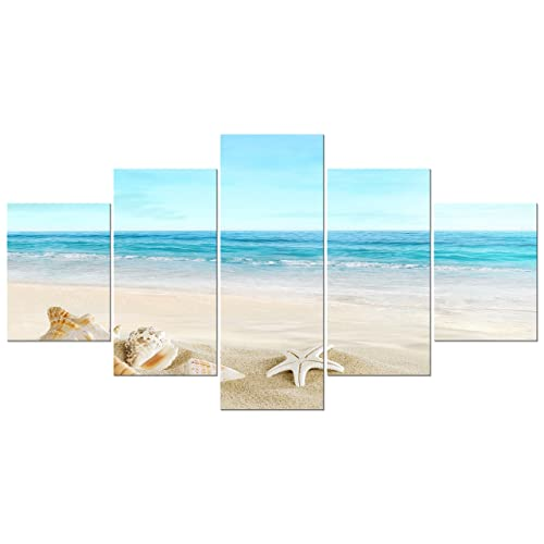 2e6bb1149c4 Pyradecor Seashell Large 5 Panels Seascape Giclee Canvas Prints on Modern  Stretched and Framed Canvas Wall