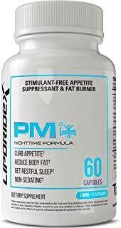 Liporidex PM - Stimulant Free Thermogenic Weight Loss Formula Supplement Fat Burner & Appetite Suppressant - The Easy Way to Lose Weight While You Sleep Fast! - 60 Diet Pills - 1 Box.