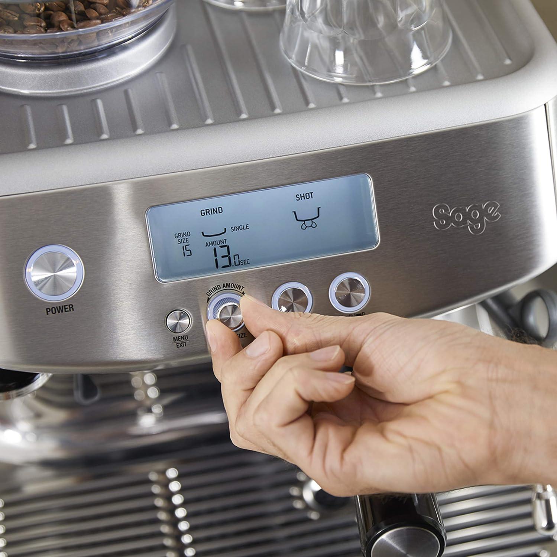 SAGE SES878 the Barista Pro, Machine à Expresso avec Broyeur, Temps de chauffage de 3 secondes, Noir Mat Acier Inoxydable Brossé