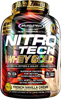 MuscleTech NitroTech Whey Gold, 100% Whey Protein Powder, Whey Isolate and Whey Peptides, Vanilla, 5.53 lbs