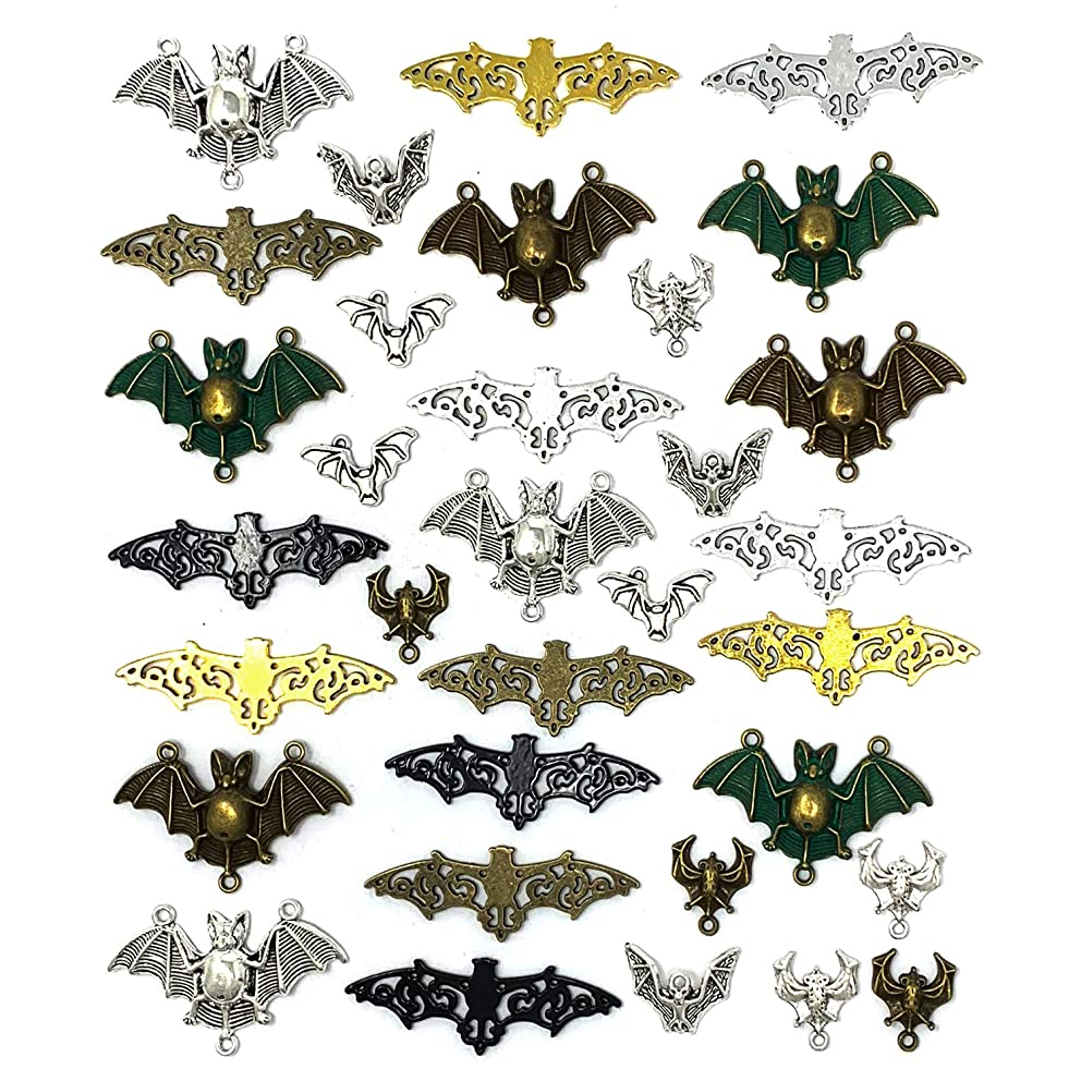 33PCS Bat Charms - JIALEEY Mixed Halloween Spooky Flittermouse Flying Vampire Bat Connector Charms Pendants DIY for Jewelry Making Crafting