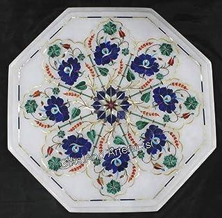 Gifts And Artefacts Mesa auxiliar octogonal de mármol blanco para patio, mesa de esquina con lapislázuli y piedras precios...