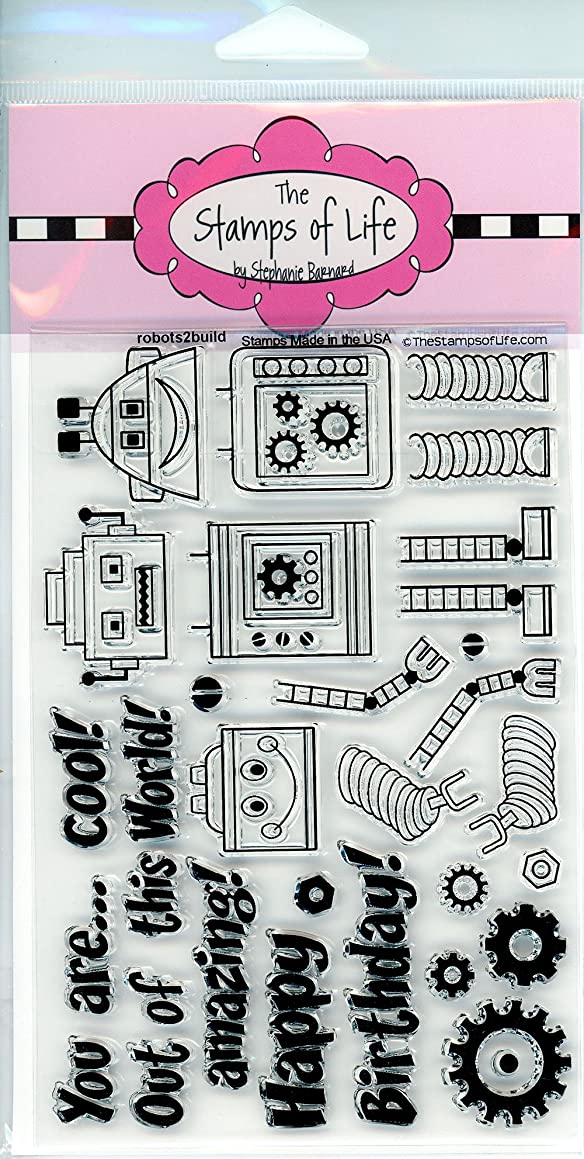 Cute Robots Clear Stamps for Scrapbooking and Card-Making by The Stamps of Life - Robots2Build Sentiments