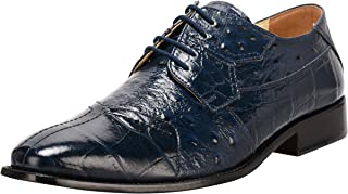 Liberty Men's Croco Ostrich Print PU Synthetic Leather Lace Up Dress Shoes