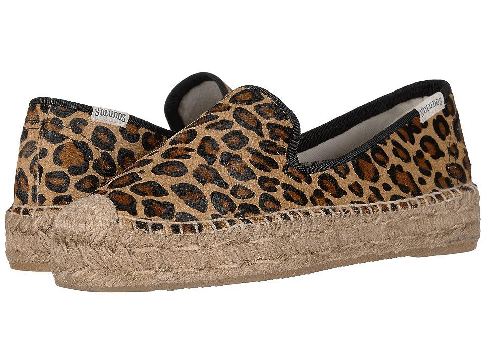 Soludos Haircalf Platform Smoking Slipper (Leopard) Women