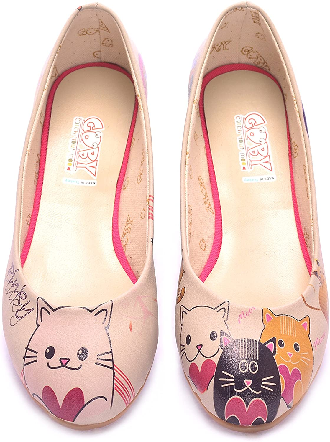 Goby Women's shoes  Cat & Heart Ballet Flatwith Memory Foam '1075'