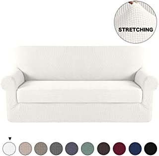 Turquoize Sofa Slipcover Stretch High Spandex Sofa Cover/Lounge Covers/Couch Covers Furniture Covers for 3 Seater Cushion Cover 2-Piece Sofa Cover with Separated Sitting Cushion Cover (Sofa, Ivory)