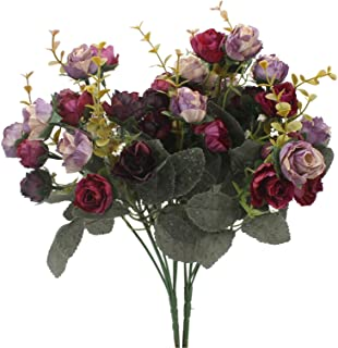 Duovlo 7 Branch 21 Heads Artificial Flowers Bouquet Mini Rose Wedding Home Office Decor,Pack of 2 (2 PCS Purple)