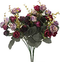 Sponsored Ad - Duovlo 7 Branch 21 Heads Artificial Flowers Bouquet Mini Rose Wedding Home Office Decor,Pack of 2 (2 PCS Pu...