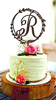 Delia32Agnes R Cake Topper Initial Cake Topper Letter R Cake Topper Monogram Cake Topper Cake Toppers for Wedding Custom Cake Topper Rustic Wedding Cake