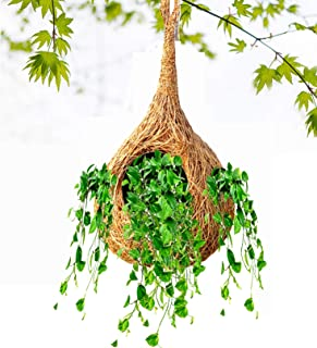 LIVEONCE Safest Bird nest Purely Handmadelove Birds/Sparrow/Small Birds and Free Planter nest Color -Natural