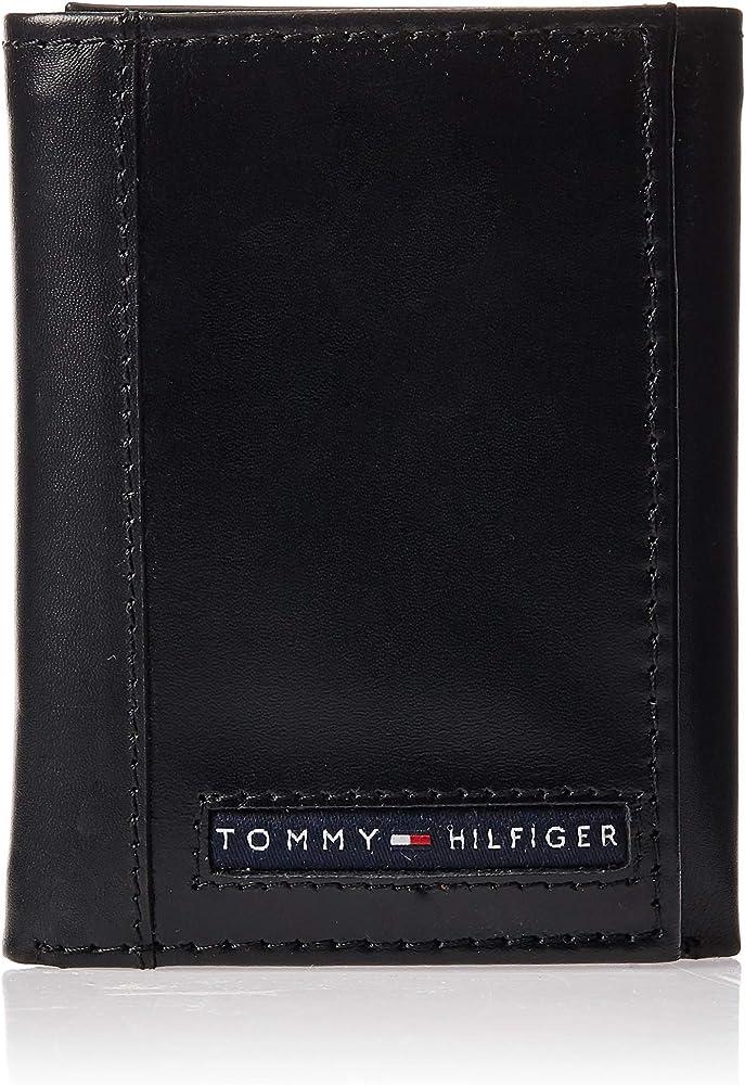 Tommy hilfiger, portafoglio a tre ante, porta carte di credito, in vera pelle SW-915676