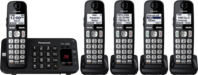 Panasonic 全品送料無料 KX-TGE445B Cordless Phone with 5 Machine- Ha 店 Answering