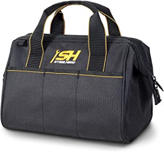 STEELHEAD 12-Inch Wide Mouth Tool Bag & Organizer, Reinforced Bottom, 4 Pockets, Water-Resistant, Heavy-Duty Zipper, Quick-Access Tool Attachment, Jobsite Ready: Electricians, Plumbers, Contractors