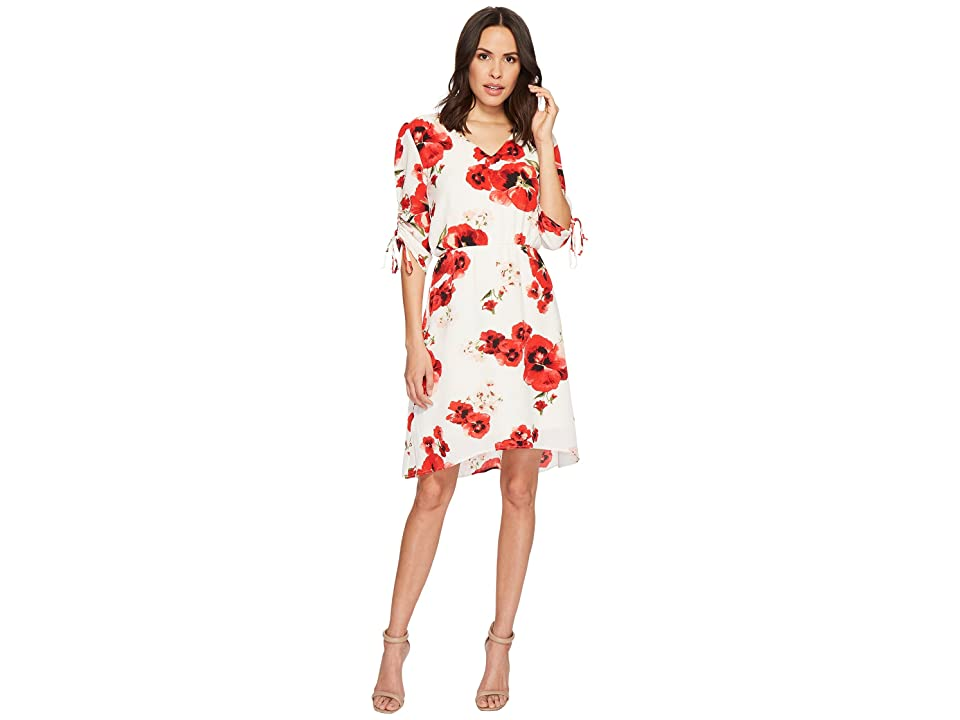 B Collection by Bobeau Ember Ruched Sleeve Dress (Red Floral Print) Women