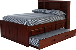 Deco 79 Full Bookcase Captains Bed with 3 Drawers and Twin Trundle, Merlot