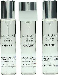 Chanel Allure Homme Sport Eau De Toilette For Men Travel Spray Refills (3 Refills), 3 x 20 ml