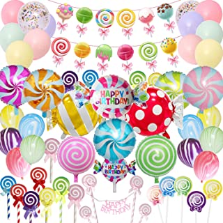 Candyland Party Supplies Set - 64pcs,Candy Party Decorations with Lollipop Banner,Sweet Candy Balloons,Candy Cake Toppers,...