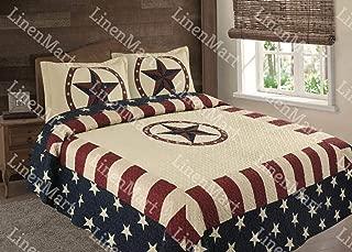 Linen Mart American Flag Western Star Bedspread Quilt - 3 Piece Set (King)