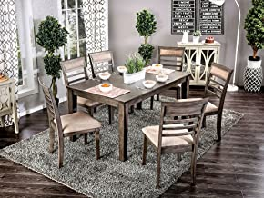 William's Home Furnishing CM3607T-7PK Talyah Dining Table Set, Weathered Gray/Beige