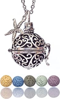Essential Oil Necklaces for Women Lava Stone Personal Diffuser Sphere Locket Pendants for Aromatherapy Oils Healing, 24 Extendable Stainless Steel Necklace, Pendant, Beads, Charm, Gift Box by Essenna