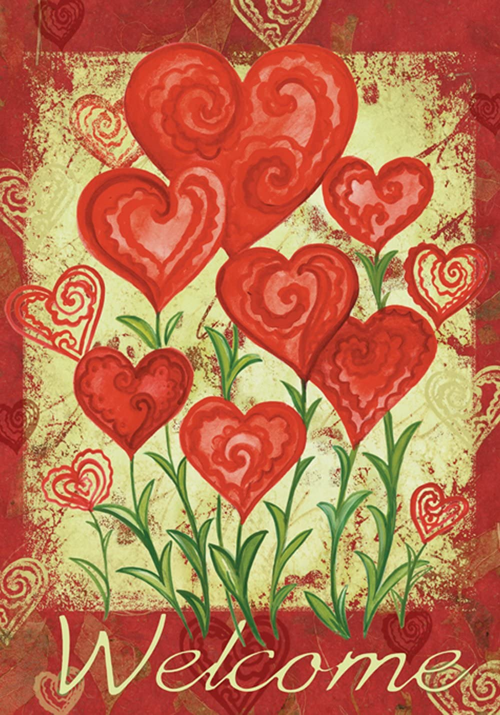 Amazon Com Toland Home Garden Garden Hearts 12 5 X 18 Inch Decorative Love Valentine Day Welcome Garden Flag Outdoor Decorative Flags Garden Outdoor