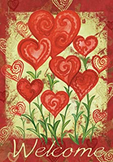 Toland Home Garden Garden Hearts 28 x 40 Inch Decorative Love Valentine Day Welcome House Flag - 102585