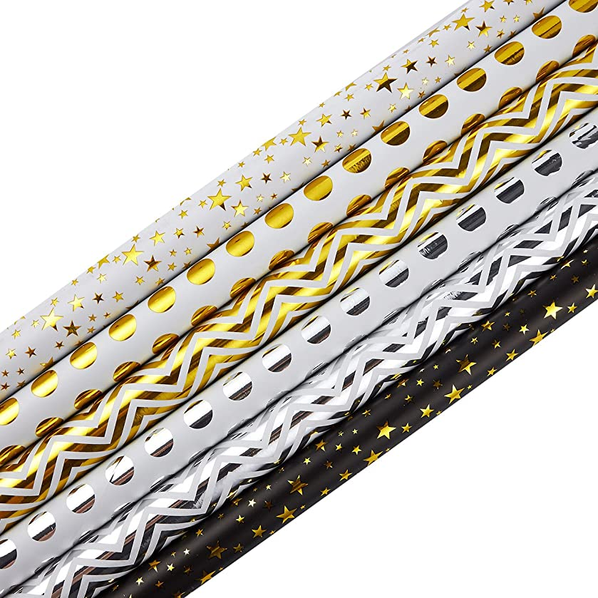 30 x 120 Inches Gift Wrapping Paper Roll - 6-Pack Decorative Wrapping Papers, All Occasion Gift Wraps for Birthdays, Valentines, Christmas, Baby Shower, Gold and Silver Foil Designs, 2.5 x 10 Feet yy35101545