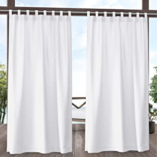 Exclusive Home Curtains EH8483-01-2108V Biscayne Indoor/Outdoor Two Tone Textured Tab Top Curtain Panels, 54x108, White