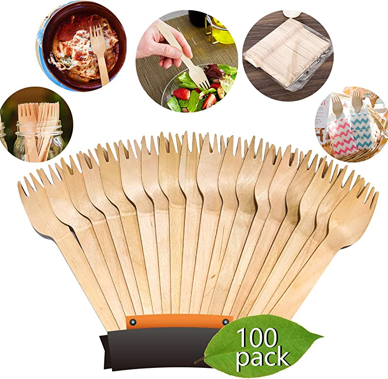 Disposable Wooden Forks Heavy Weight KITMA 6 5 Natural Birch Wood Environmental Protection Tableware Alternative To Plastic Cutlery Biodegradable 100 Pack
