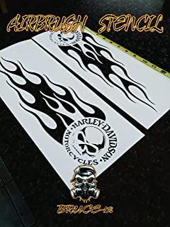 FLAMES Airbrush Stencil Motorcycle Tank FLAMES Skull Harley Davidson left & right 14.5