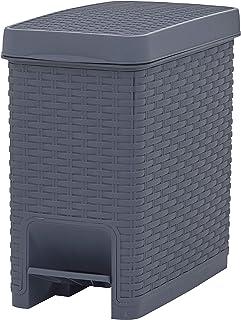 Superio Slim Trash Can Rattan Style 6.5 Qt- Grey