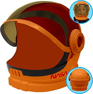 Astronaut Orange Helmet with Movable Visor Pretend Play Toy Set for School Classroom Dress Up, Role Play Accessory, Christmas Gift Stocking, Birthday Party Favor Supplies, Boys, Kids and Toddler.
