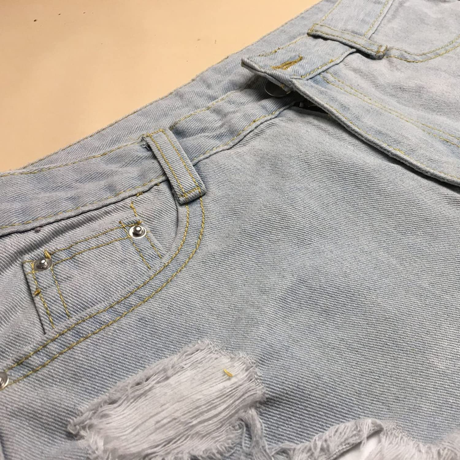 Ripped Mid Waisted Jean Shorts for Women Destroyed Hole Casual Short Jeans Distressed Frayed Summer Denim Hot Pants (Light Blue,Medium)