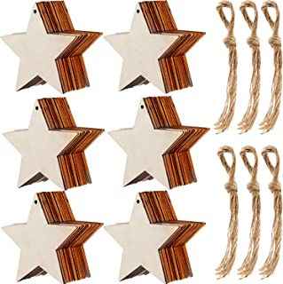 Tatuo 60 Pieces Natural Wooden Star Cutouts Shape Wooden Star Embellishments and 60 Pieces Natural Twine for Christmas Home Party Decoration