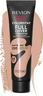 Revlon ColorStay Full Cover Longwear Matte Foundation, Heat & Sweat Resistant Lightweight Face Makeup, Natural Beige (220), 1.0 oz