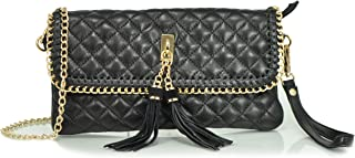 Leather Collection Quilted Clutch with Tassles, Black