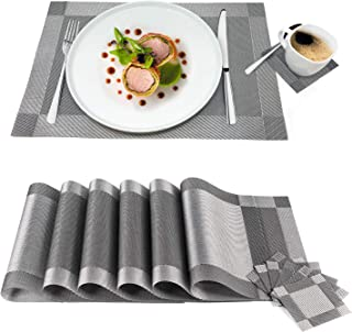 Tatkraft First Table Placemats Set - 6 Coasters & 6 Placemats Waterproof Anti-Slip Durable PVC