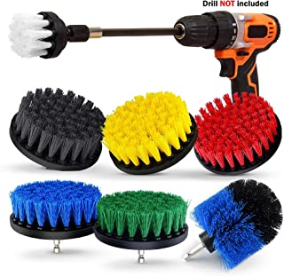 8 Piece Drill Brush Set, Extend Long Attachment, Scrub brush, All Purpose Power Scrubber Cleaning Kit for Grout, Tile, Carpet, Sink, Bathtub, Bathroom, Shower, Kitchen, Car, Pool, Boat by Buddy Pro