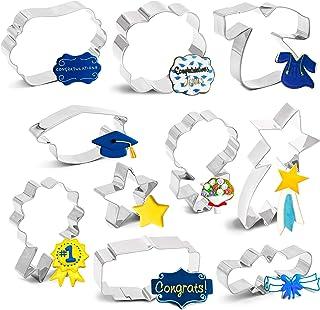 7PCS 2020 Graduation Cookie Cutter Set - Graduation Cap, Diploma, Star,Gown,Plaque Frame,Medallion,Bouquet Party Supplies ...