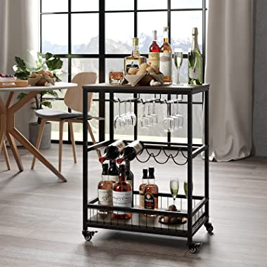Bar Carts for Home, Mobile Wine Cart, Rolling Bar Serving Cart with Wheels, Industrial Beverage Cart with Wine Rack and Glass