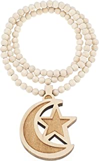GWOOD Ramadan Crescent Moon and Star Maple Color Wood Pendant with 36 Inch Necklace