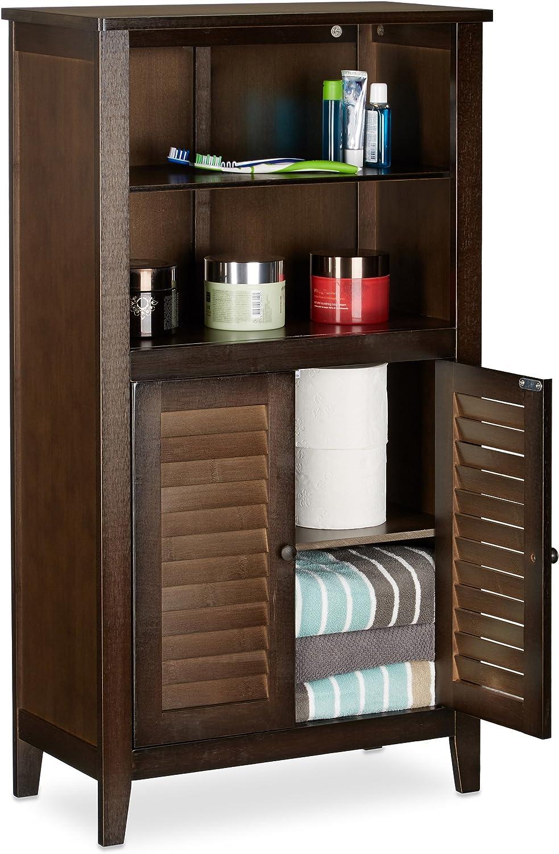 Relaxdays Badezimmerschrank dunkelbraun LAMELL, Badschrank aus Bambus, Telefonschrank, HBT  92 x 50 x 25,5 cm