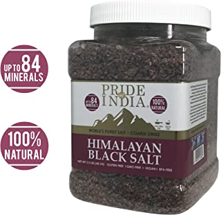 Pride Of India - Himalayan Black Rock Salt - Coarse Grind, 2.5 Pound (40oz) - Kala Namak - Contains 84+ Minerals - Perfect for Cooking, Tofu Scrambles, Grinder Use, Kitchen, Restaurant & Bath Salt