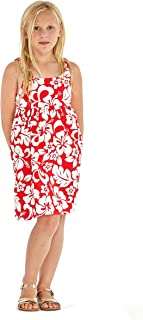 Hawaii Hangover Girl Elastic Strap Empire Waist Dress in Classic Hibiscus Red