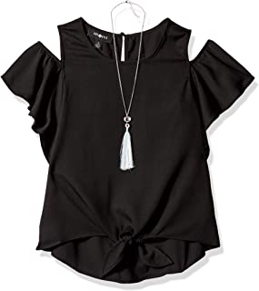 6a670693ff9 Amy Byer Girls' Big Flutter Sleeve Cold Shoulder Top with Necklace