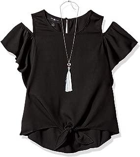 Girls' Big Flutter Sleeve Cold Shoulder Top with Necklace