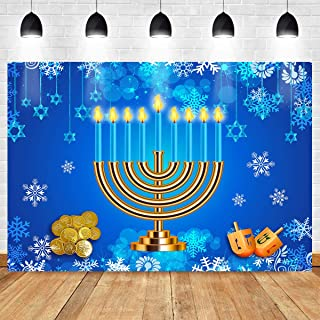 Happy Hanukkah Backdrop Let's Get Lit Menorah Dreidels Stars Torah Snowflake Blue Photography Background Jewish Israel Party Decoration Banner 7x5ft ZYMT0811