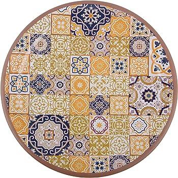 Melange 6-Piece 100% Melamine Dinner Plate Set (Moroccan Tiles)   Shatter-Proof and Chip-Resistant Melamine Dinner Plates   Color: Yellow